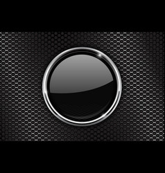 black round button with chrome frame on perforated vector image