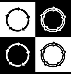 circular arrows sign black and white vector image