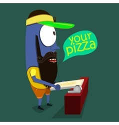 Cool Monster sells pizza in a pizzeria vector image vector image