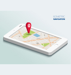 isometric smartphone with map vector image