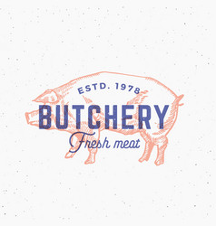 retro print effect butchery abstract sign vector image vector image