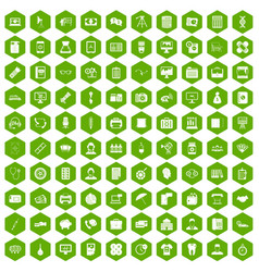 100 department icons hexagon green vector