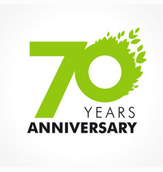 70 anniversary leaves logo vector