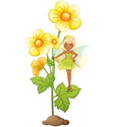 A sunflower with a fairy vector image