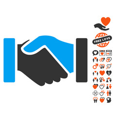 acquisition handshake icon with dating bonus vector image