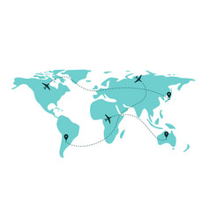 airplane flight line paths going across blue world vector image