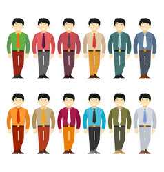 Asian office worker or businessman character set vector