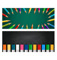 Back to school realistic banners vector