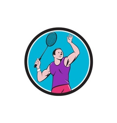 Badminton Player Racquet Striking Circle Cartoon vector