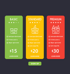 banner for tariffs set of pricing table boxes vector image