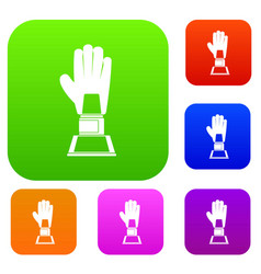 baseball glove award set color collection vector image
