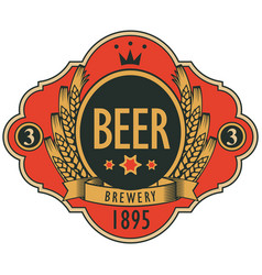 beer label with coat of arms ears of wheat vector image