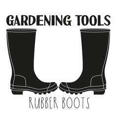 black and white rubber boots silhouette vector image