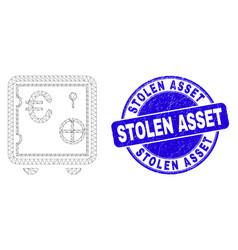 Blue distress stolen asset stamp seal and web mesh vector