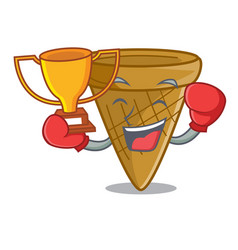 boxing winner sweet wafer cone isolated on maskot vector image