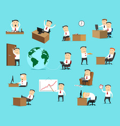 businessman work business situation icons vector image