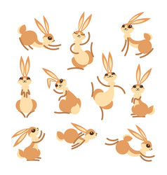 cartoon cute rabbit or hare little funny rabbits vector image