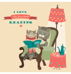 Cat and kitten reading book vector