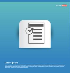 checklist icon - blue sticker button vector image