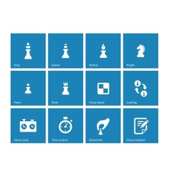 Chess icons on blue background vector