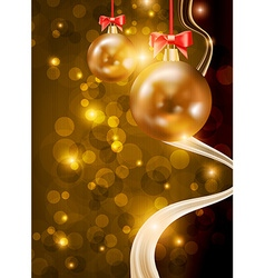 Christmas Background with Golden Baubles vector