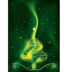 Christmas tree on green background vector