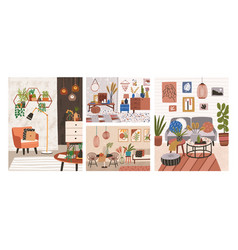 collection interiors with stylish comfy vector image