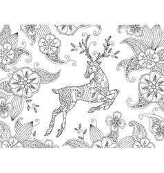 Coloring page with running deer and floral vector