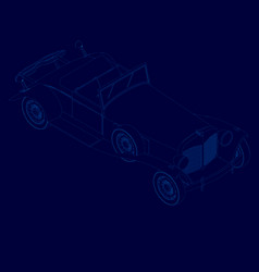 contour a vintage car without a roof isometric vector image