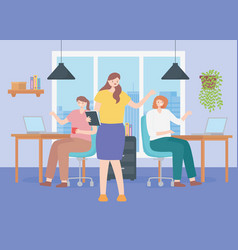 coworking office team female characters at desk vector image