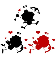 Cupid silhouette cartoon vector