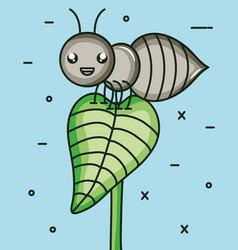 Cute ant insect kawaii character vector