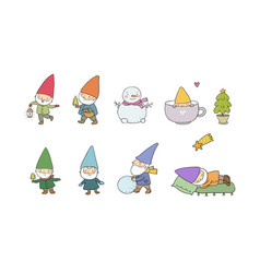 cute cartoon gnomes new year set christmas elves vector image