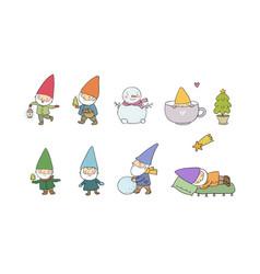 Cute cartoon gnomes new year set christmas elves vector