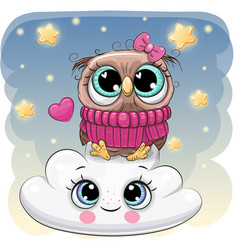 cute owl a on the cloud vector image