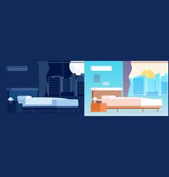 day night bedroom interior room location in vector image