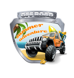 extreme orange off road vehicle suv on a beach vector image