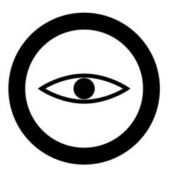Eye the black color icon in circle or round vector