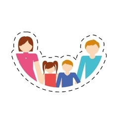 family together members traditional cut line vector image