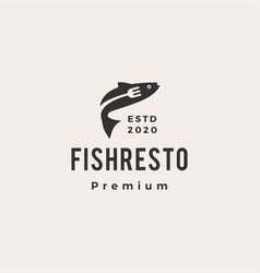 fish restaurant hipster vintage logo icon vector image