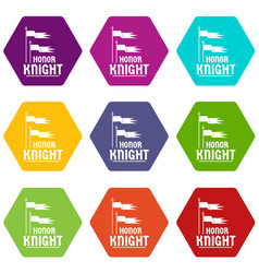 flag knight icons set 9 vector image