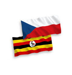 Flags czech republic and uganda on a white vector