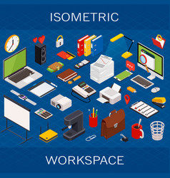 flat 3d isometric computerized technology vector image
