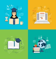 flat elements of education vector image vector image
