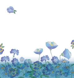Floral background with cute blue flowers vector
