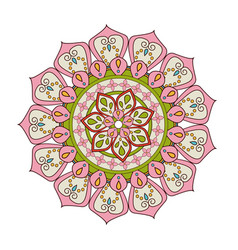 Floral mandala color decoration bohemian vintage vector