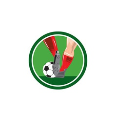 Foot Kicking Soccer Ball Retro vector