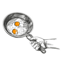 fried eggs are cooked in a pan hold in hand vector image