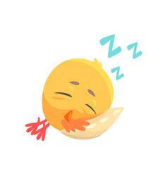 funny cartoon comic chicken sleeping on a pillow vector image