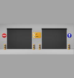 Garage doors commercial hangar entrance doorways vector